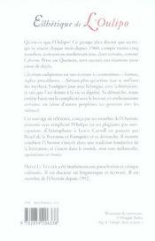 Esthetique De L'Oulipo - 4ème de couverture - Format classique