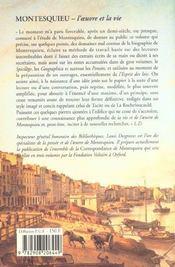 Montesquieu l'oeuvre et la vie - 4ème de couverture - Format classique