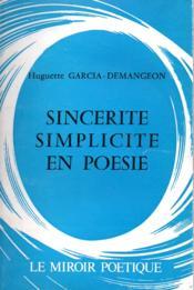 Sincérité, simplicité en poésie - Couverture - Format classique