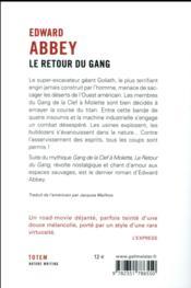 Le retour du gang - 4ème de couverture - Format classique