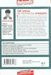 100 Lettres De Recherches D'Emploi 2001 - 4ème de couverture - Format classique