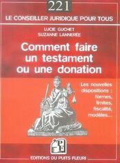 Comment faire un testament ou une donation (4e édition) - Intérieur - Format classique