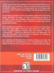 Comment faire un testament ou une donation (4e édition) - 4ème de couverture - Format classique