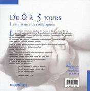 De 0 à 5 jours ; la naissance accompagnée - 4ème de couverture - Format classique