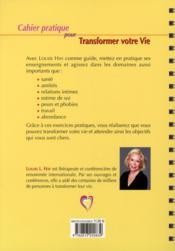 Cahier pratique pour transformer votre vie - 4ème de couverture - Format classique