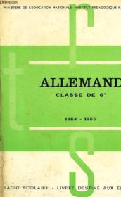 ALLEMAND, CLASSE DE 6e, 1964-1965 - Couverture - Format classique
