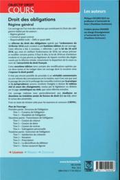Droit des obligations ; régime général ; à jour de la réforme du droit des contrats et des obligations - 4ème de couverture - Format classique