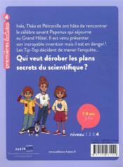Les enquêtes des Tip Top t.1 ; les plans secrets - 4ème de couverture - Format classique