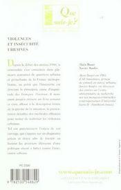 Violences et insecurite urbaines (9e ed) (9e édition) - 4ème de couverture - Format classique