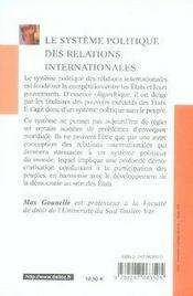 Le système politique des relations internationales - 4ème de couverture - Format classique