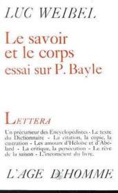 Le Savoir Et Le Corps - Couverture - Format classique