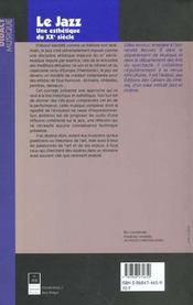 Le jazz une esthetique du xxe siecle - 4ème de couverture - Format classique