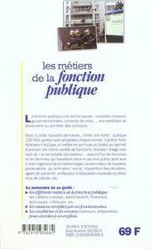 Les metiers de la fonction publique - 4ème de couverture - Format classique