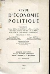 Revue D'Economie Politique - Quelques Observations Sur Les Relations Economiques Entre L'Algerie Et La Metropole - Couverture - Format classique