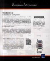 Windows 8.1 ; installation et configuration - 4ème de couverture - Format classique