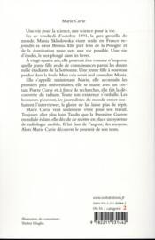 Marie Curie ; elle a découvert l'énergie nucléaire - 4ème de couverture - Format classique