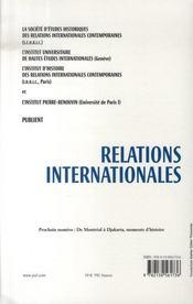 RELATIONS INTERNATIONALES N.129 ; les années cinquante - 4ème de couverture - Format classique