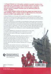 Rapport Mondial Sur La Corruption 2005 - 4ème de couverture - Format classique