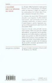 L'Algérie sous le régime de Vichy - 4ème de couverture - Format classique