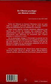De L'Illusion Psychique Aux Illusions Sociales - 4ème de couverture - Format classique