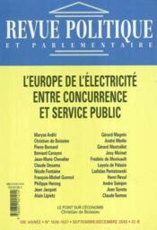 Revue Politique Et Parlementaire N.1025 ; Transport D'Electricité (édition 2003) - Couverture - Format classique