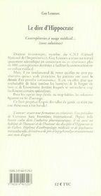 Le dire d'hippocrate ; contrepèteries à usage médical - 4ème de couverture - Format classique