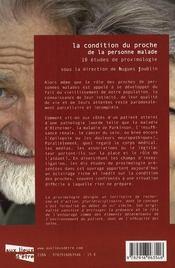 La condition du proche de la personne malade ; 10 études de proximologie - 4ème de couverture - Format classique
