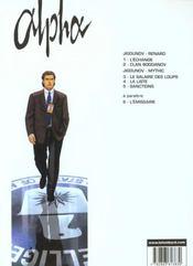 Alpha t.4 ; la liste - 4ème de couverture - Format classique