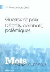 MOTS T.76 ; guerres et paix ; débats, combats, polémiques (édition 2004) - Intérieur - Format classique