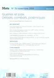 MOTS T.76 ; guerres et paix ; débats, combats, polémiques (édition 2004) - 4ème de couverture - Format classique