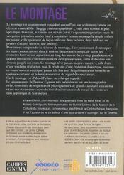 Le montage, l'espace et le temps dy film - 4ème de couverture - Format classique