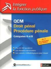 QCM droit pénal/procédure pénale ; catégories A et B - Couverture - Format classique