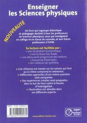 Enseigner les sciences physiques ; collège et classe de 2nde (édition 2004) - 4ème de couverture - Format classique