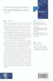 Les Courants Historiques En France Xix-Xx Siecle - 4ème de couverture - Format classique
