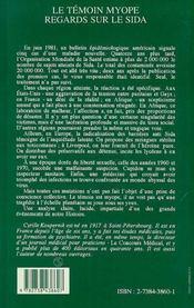 Le Temoin Myope ; Regards Sur Le Sida - 4ème de couverture - Format classique