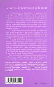 Foetus Le Nourrisson Et La Mort - 4ème de couverture - Format classique