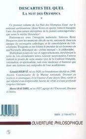 Descartes tel quel, la nuit des olympica t.1 ; essai sur le national-cartésianisme - 4ème de couverture - Format classique