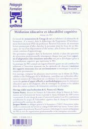 Mediation educative et educabilite cognitive (la) - 4ème de couverture - Format classique