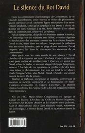 Le Silence Du Roi David - 4ème de couverture - Format classique