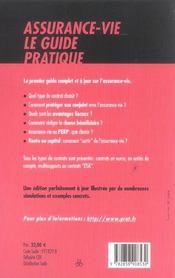 Assurance-Vie, Le Guide Pratique 2005 - 4ème de couverture - Format classique