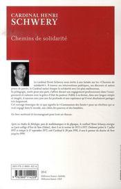 Chemins de solidarité - 4ème de couverture - Format classique