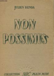 Non Possumus - A Propos D'Une Certaine Poesie Moderne - Couverture - Format classique