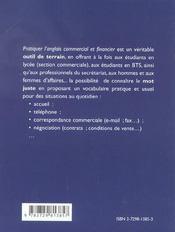 Pratiquer L'Anglais Commercial Et Financier - 4ème de couverture - Format classique