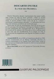 Descartes inutile, la nuit des olympica t.2 ; essai sur le national-cartésianisme - 4ème de couverture - Format classique