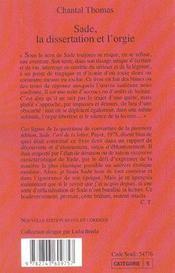 Sade, la dissertation et l'orgie - 4ème de couverture - Format classique