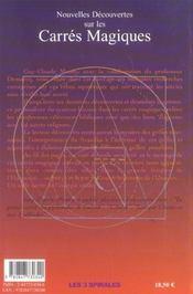 Nouvelles decouvertes sur les carres magiques (édition 2005) - 4ème de couverture - Format classique