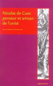 Nicolas de cues, penseur et artisan de l'unite. conjectures, concorde , coincidence des opposes - Intérieur - Format classique
