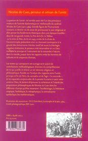 Nicolas de cues, penseur et artisan de l'unite. conjectures, concorde , coincidence des opposes - 4ème de couverture - Format classique