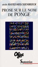 Prose Sur Le Nom De Ponge - Couverture - Format classique