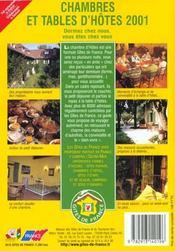 Chambres Et Tables D'Hotes ; Edition 2001 - 4ème de couverture - Format classique